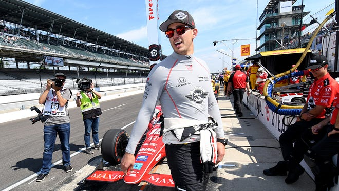 Rahal Letterman Lanigan Racing IndyCar driver Graham Rahal (15) during Carb Day practice at the Indianapolis Motor Speedway Friday, May 26, 2017.