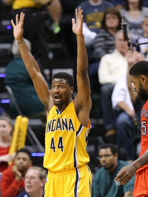 Indiana Pacers forward Solomon Hill stands in disbelief on a foul he was called on against Toronto in the second half of the game at Bankers Life Fieldhouse on Monday, March 16, 2015. The Pacers lost 117-98 to the Raptors.