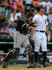 Chicago White Sox catcher Tyler Flowers reacts after the Detroit Tigers' Josh Wilson struck out to end the game after ten innings on Thursday, June 25, 2015 at Comerica Park in Detroit.