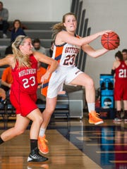 Gettysburg's Emily Duggan (23)  returns to the Bullets'