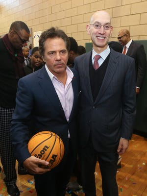 Pistons owner Tom Gores and NBA commissioner Adam Silver after the dedication of the new Detroit Pistons basketball court located in the S.A.Y. Detroit Play Center at Lipke Park in Detroit on Jan. 18, 2016.