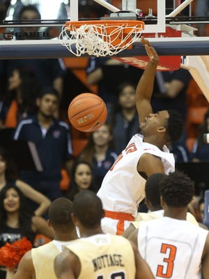 UTEP's Earvin Morris slam dunks during first half action against Florida International Saturday at the Haskins Center.