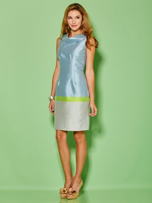 A blue-green colorblock dress from designer Sara Campbell's spring/summer 2016 collection.