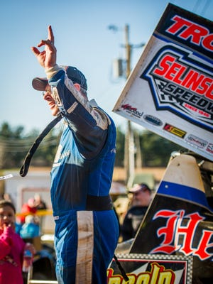 Greg Hodnett waves to spectators from Victory Lane after winning the feature Icebreaker 30 race for 410 Sprints at Lincoln Speedway in Abbottstown on Sunday, Feb. 28, 2016.