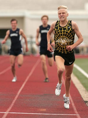 Watkins Memorial senior Andrew Jordan nears the finish line in the 800 on May 12 during the Licking County League-Buckeye Division meet. Jordan ran a school-record time of 1:53.03.
