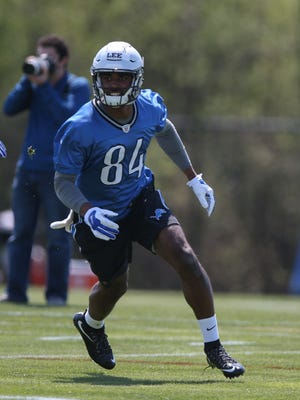 Detroit Lions wide receiver Jay Lee goes through drills during rookie minicamp May 6, 2016, at the practice facility in Allen Park.