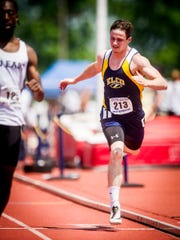 ELCO's Ethan Anspach runs in a preliminary heat of the AAA boys 200m dash during the PIAA Track and Field Championship meet at Shippensburg University on Saturday, May 28, 2016.