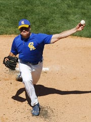 Crawfordsville's Cameron Hobson delivers a pitch during