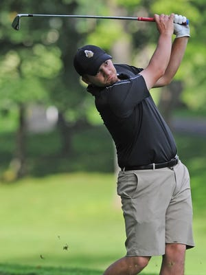 Anthony Zachman follows the ball down the seventh fairway at Ackerman-Allen this past Sunday morning during the Men's City Golf tournament.
