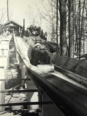 Submitted photograph from 1964 courtesy of Gifford Pinchot State Park of the first winter that the toboggan run was used. The ride was only open for a couple of years.