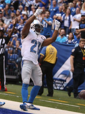 Detroit Lions running back Ameer Abdullah celebrates a touchdown against the Indianapolis Colts on Sunday, Sept. 11, 2016, at Lucas Oil Stadium in Indianapolis.