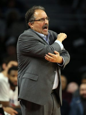 Jan 18, 2017; Auburn Hills, MI, USA; Pistons coach Stamn Van Gundy reacts to a foul during the third quarter of the 118-95 win over the Atlanta Hawks at the Palace.