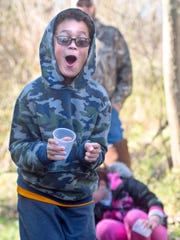 """It's so cold!!"" said Ore Valley Elementary School third grader Kade Doelle, as he participates in a stream study in Lower Chanceford Township on Saturday, April 8, 2017. Kade and other members of his school participated in the Trout In the Classroom program, which teaches students about cold water conservation while they raise brook trout from eggs to fingerling in a classroom aquarium."