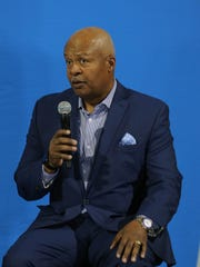 Detroit Lions head coach Jim Caldwell talks to fans before the new uniforms were unveiled at Ford Field on Thursday, April 13, 2017.