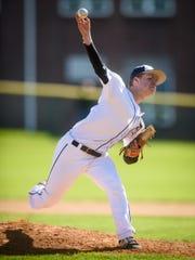 Dallastown pitcher Alex Weakland (14) delivers against
