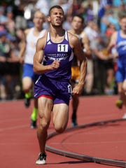 "Mount Gilead's Austin Hallabrin wins what his coach called the 800 ""dash""  at the state track meet."