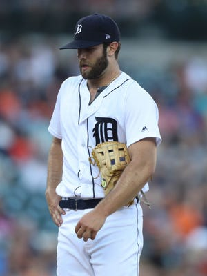 Tigers pitcher Daniel Norris after giving up a hit against the  Giants in the fourth inning Wednesday, July 5, 2017 at Comerica Park.