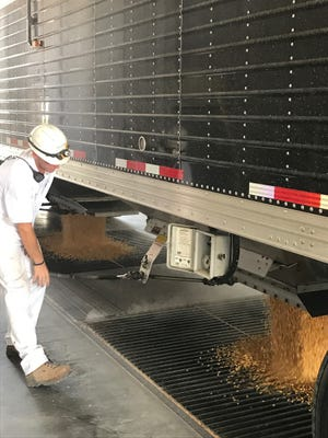 A Didion employee monitors the unloading of corn as ethanol plant operations restarted at its grain elevator operations in Cambria. Corn is now being accepted from area farmers.