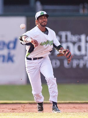 Vermont Lake Monsters shortstop Jesus Lage makes a throw to first base during the 2017 home opener against the Brooklyn Cyclones at Centennial Field on Wednesday night.
