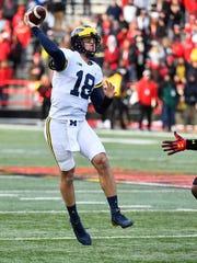 Michigan quarterback Brandon Peters passes against Maryland this season.