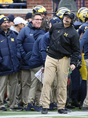 Michigan coach Jim Harbaugh on the sideline in the third quarter of the 31-20 loss to Ohio State on Saturday, Nov. 25, 2017 at Michigan Stadium.