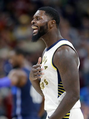 Indiana Pacers guard Lance Stephenson (1) was not happy with himself late in the second half of their game at Bankers Life Fieldhouse Wednesday, Dec. 27, 2017. The Dallas Mavericks defeated the Indiana Pacers 98-94.