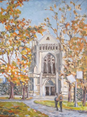 "Bob Sullivan, ""The University Chapel,"" 12"" x 16"" oil on linen panel"