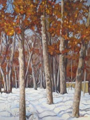"Bob Sullivan, ""Path in Snowy Wood,"" 18"" x 24"" oil on stretched canvas"