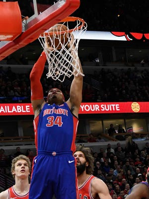 Pistons forward Tobias Harris (34) makes a shot against the Bulls during the first half on Saturday, Jan. 13, 2018, in Chicago.