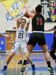 Kennard-Dale's Jaedyn McKeon looks for an opening against Dover in overtime during a YAIAA girls' basketball game Friday, Jan. 19, 2018, at Kennard-Dale. Dover defeated Kennard-Dale 49-44 in overtime.