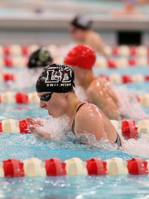 Liberty Union's Logan Loawhorn competes in the state swim meet as a freshman. She will be back to defend her title on Friday in Canton. Lancaster and Fisher Catholic will also have swimmers at the state meet.