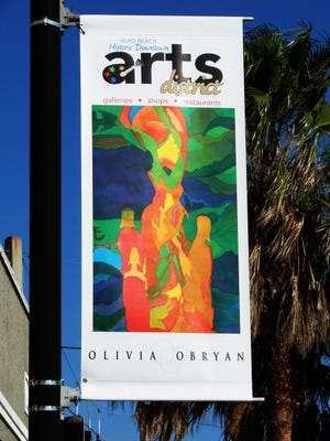 Arts District banners mark a special area in Downtown Vero Beach. Some  of the original banners were destroyed during Hurricanes Matthew and Irma. Sponsors helped add 30 new banners to the area.