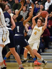 York Catholic's Gina Citrone looks to pass against Mastery Charter South in the first half of a first-round PIAA Class 3A girls' basketball game Friday, March 9, 2-18, at West York.