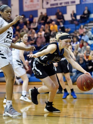 Kennard-Dale's Lexie Kopko tries to maintain possession against Berks Catholic in the second half of a PIAA Class 4A second-round game Wednesday, March 14, 2018, at Garden Spot. Kennard-Dale lost 41-32 to Berks Catholic, ending the Rams' season.
