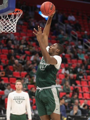 Michigan State forward Jaren Jackson Jr. practices for the first-round NCAA tournament game on Thursday, March 15, 2018, at Little Caesars Arena.