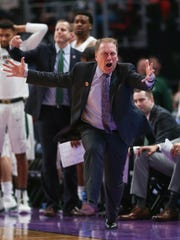 Michigan State coach Tom Izzo reacts to a call during