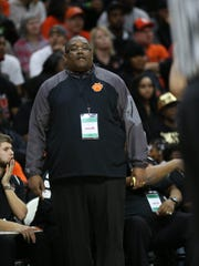 Benton Harbor coach Corey Sterling watches the second