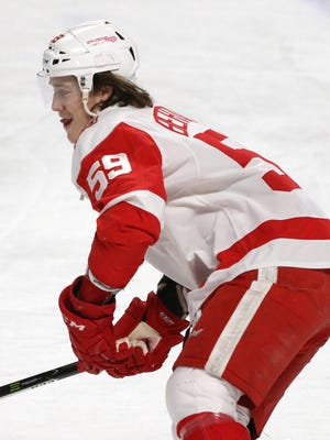 Mar 26, 2018; Montreal, Quebec, CAN; Red Wings left wing Tyler Bertuzzi during warmups prior to the game against Canadiens at Bell Centre.