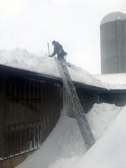 Fourteen and 16-year-old sons of Heather and Jay Jauquet, of Pulaski, spent a couple of hours on April 15, 2018, shoveling snow off their transfer lane roof of their barn. The drift was about 12 high when they started.
