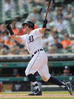 Tigers catcher James McCann homers against the Rays on May 2.