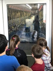 Fourth grade students learn about the milking parlor