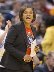 "FILE -- Indiana Fever coach Pokey Chatman on defending Phoenix's Brittney Griner and DeWanna Bonner: ""We always talk about cutting off the head of the snake, and their two heads combined for 51."""