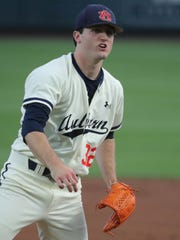 Auburn pitcher Casey Mize pitches against LSU Friday, May 18, 2018, at Hitchcock Field at Plainsman Park in Auburn, Alabama.