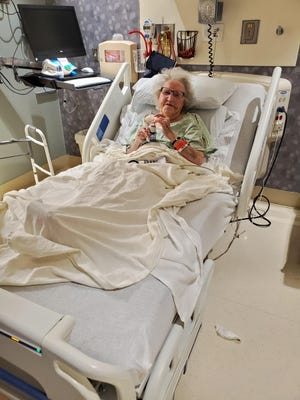 Dorothy Biedenbach, 100, photographed at Highland Hospital in Rochester during her COVID-19 recovery. She had family visits at the hospital, but moved on Aug. 1 into Monroe Community Hospital's nursing home, where visitation has been blocked from resuming due to state policy, her son Richard said.