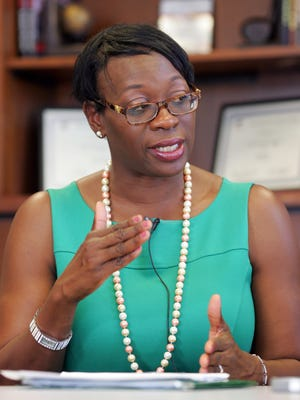 Ohio Secretary of State candidate Nina Turner speaks to reporters Thursday.