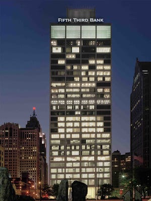 Artist rendering of the new regional headquarters for Fifth Third Bank (Eastern Michigan) in the Bedrock Real Estate Services-owned One Woodward building located in Detroit . The architect Minoru Yamasaki was against corporate signage on buildings.