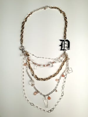 D necklace with freshwater pearls and quartz crystals, $129 at the Peacock Room, Detroit.