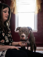 Heather Wiedenhoeft of Grand Ledge rescued pit pull Bonnie, right, two weeks ago from Lansing. Her effort to help the animal started with a Go Fund Me account that's raised over $700.