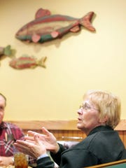 Bonita Keller, of Millersport, shares her thoughts concerning the dam at Buckeye Lake on Tuesday while dining at Pizza Cottage on Walnut Road.