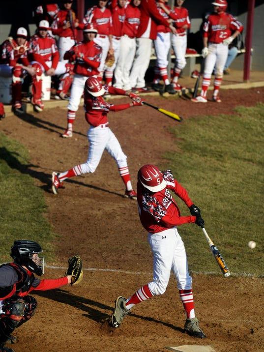 Susquehannock's Alex Palmer hits a single during the Warriors' season opener in March at Dover. (Chris Dunn - GameTimePA.com)